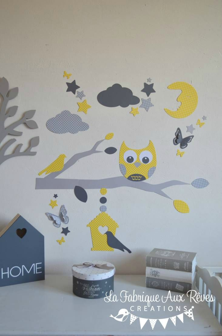 stickers hibou jaune gris blanc lune nuage étoiles papillon ...