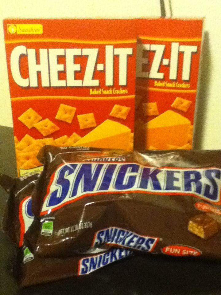 Cheez-Its and Snickers