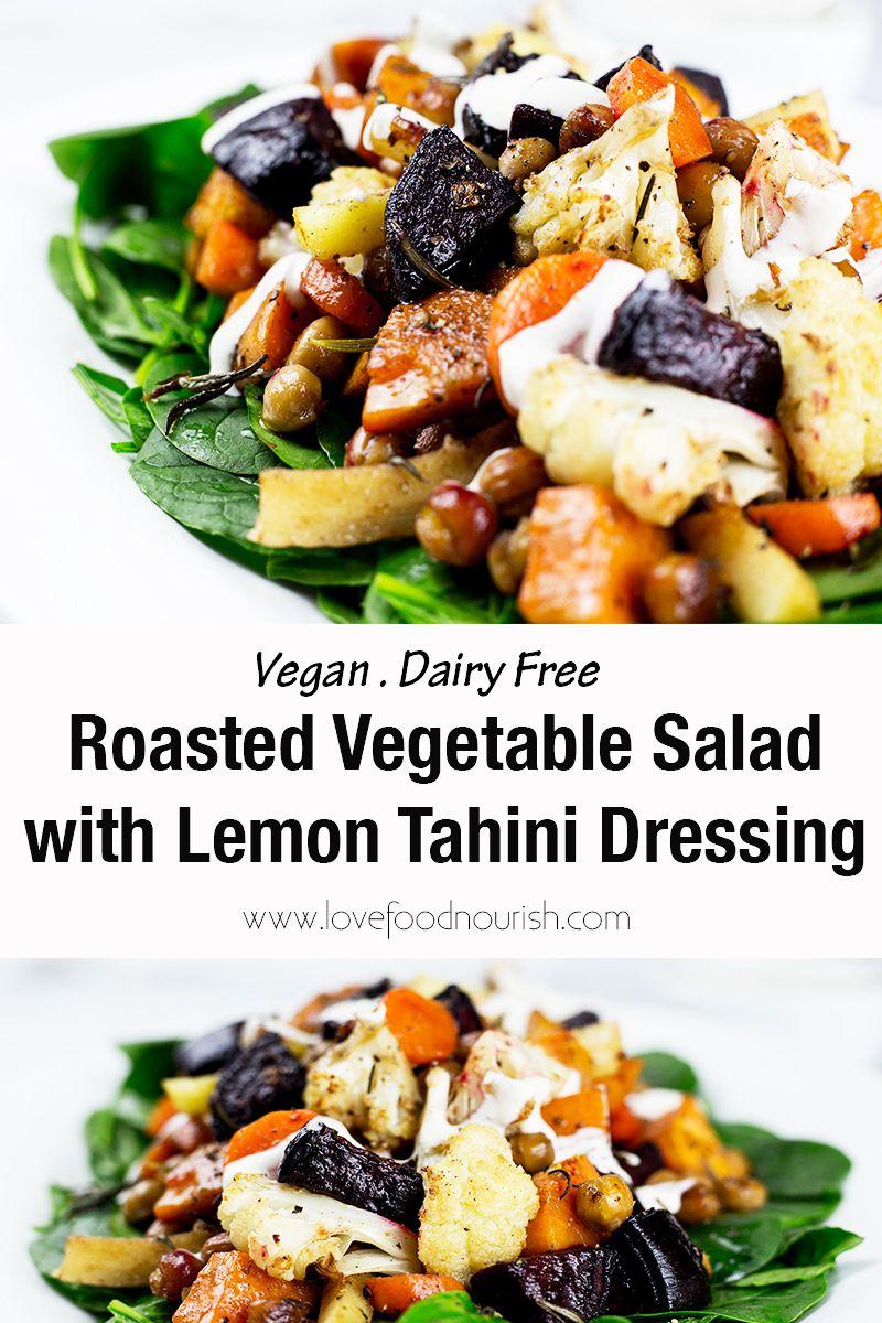 Roasted Vegetable Salad With Lemon Tahini Dressing Recipe Roasted Vegetable Salad Lemon Tahini Dressing Vegan Salad Recipes