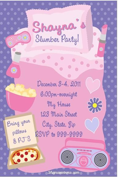 Slumber Party invitations and party favors Top Party Themes - best of birthday invitations sleepover party