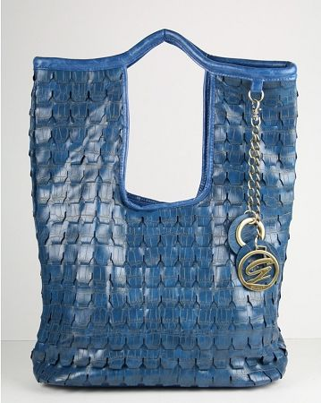 Galian Handbag Snakeskin Roxanne Woven Perforated Purse Royal Blue