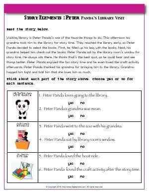 Worksheet   Story Elements : Peter Panda's Library Visit ...