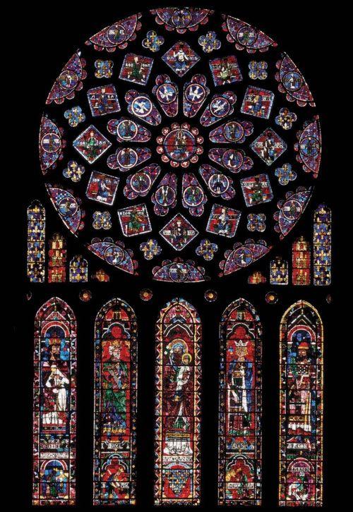 historicaldetailsandstuff: Rose window and lancets, north ...