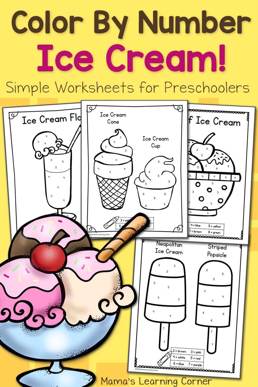 Color By Number Worksheets for Preschool Ice Cream! Ice