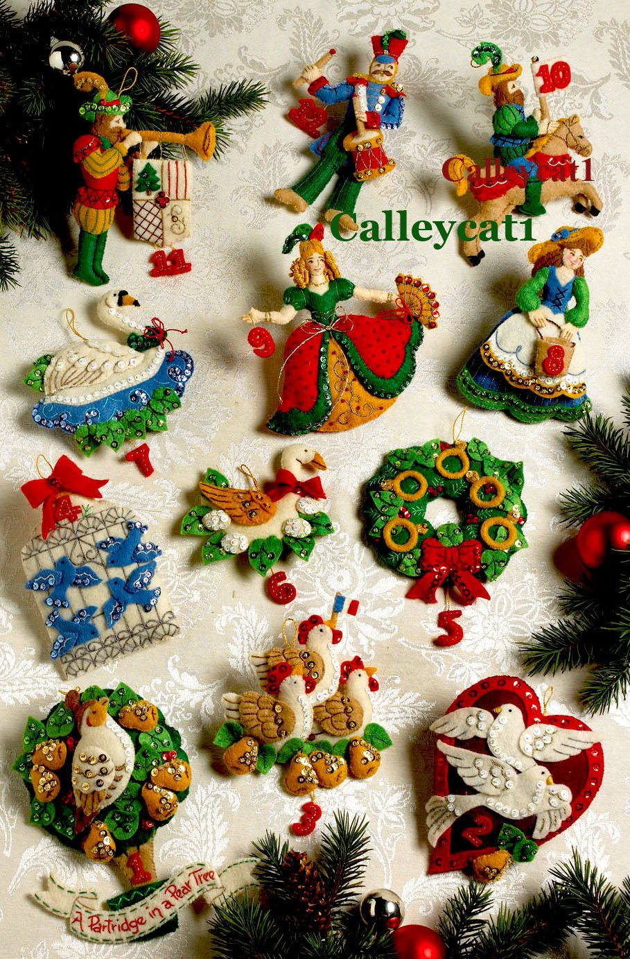 Christmas felt ornaments - 12 Days Of Christmas Bucilla Felt Ornament Kit 86066 Fth Studio Internationalfth Studio International