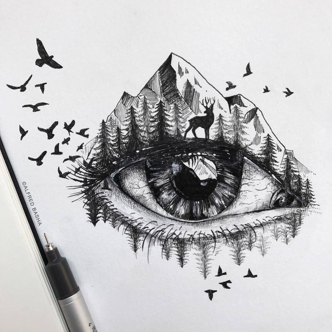 Autumn Is Here Alfredbasha Autumn Illustration Ink Tattoo Drawing Nature Eye Nature Drawing Sketchbook Drawings Drawings