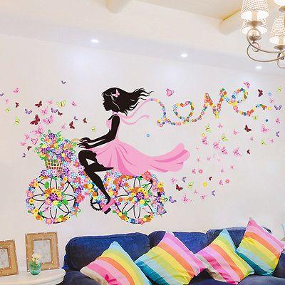 details zu 1 fahrrad blumen m dchen wandaufkleber wandsticker wandtattoo kinderzimmer pal. Black Bedroom Furniture Sets. Home Design Ideas