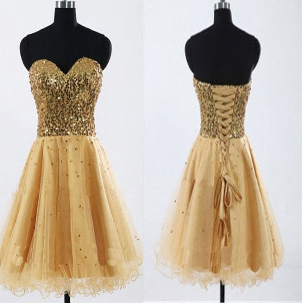 Gold sequin sweetheart sparkly rehearsal sweet casual homecoming