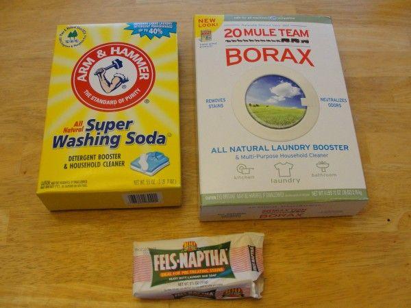 Washing Soda Borax And Laundry Bar Soap For Homemade Laundry