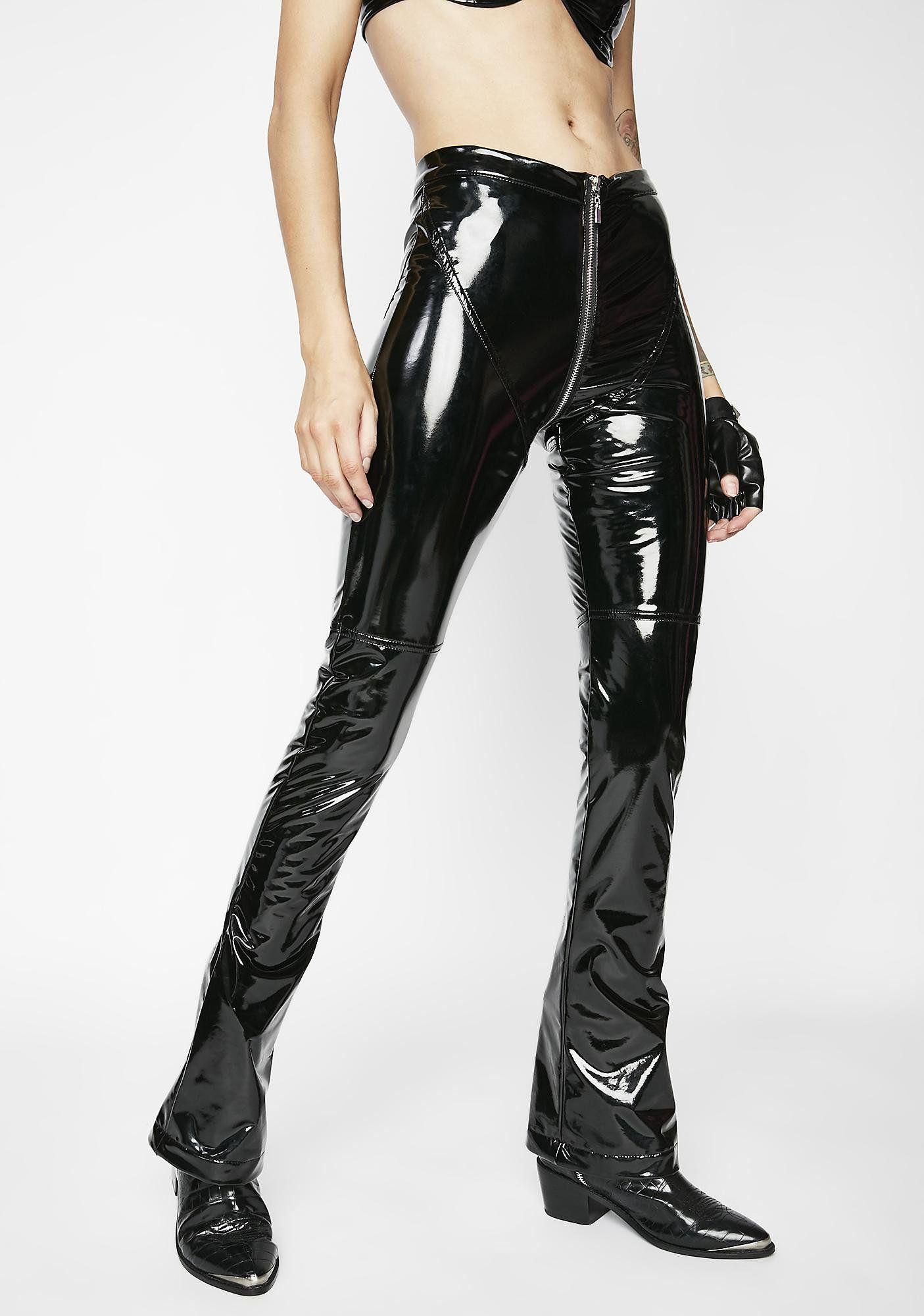 59684200d67 Matte Dark Siren PVC Pants cuz you got the smoke alarms goin  off. These shiny  black pants have a mid-rise fit