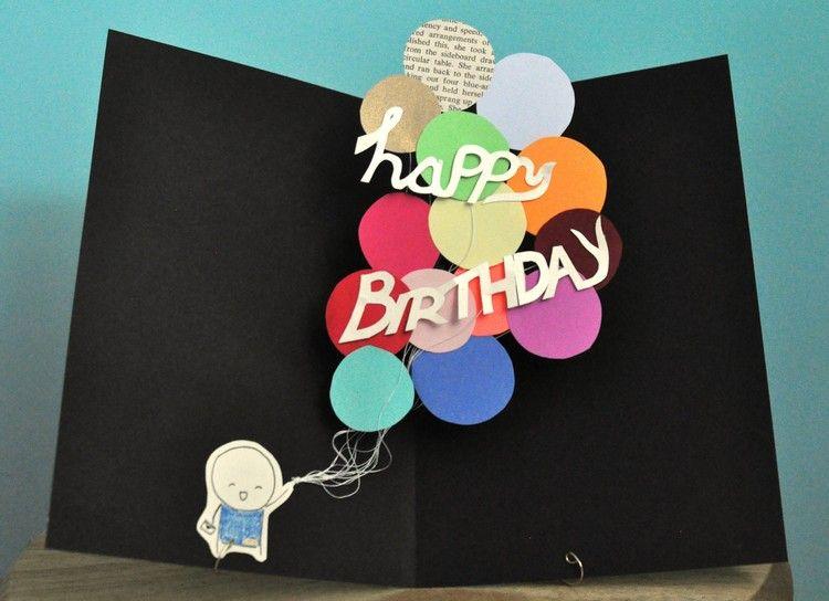 Geburtstagskarten basteln pop up schwarze geburtstagskarte for Geburtstagskarten ideen