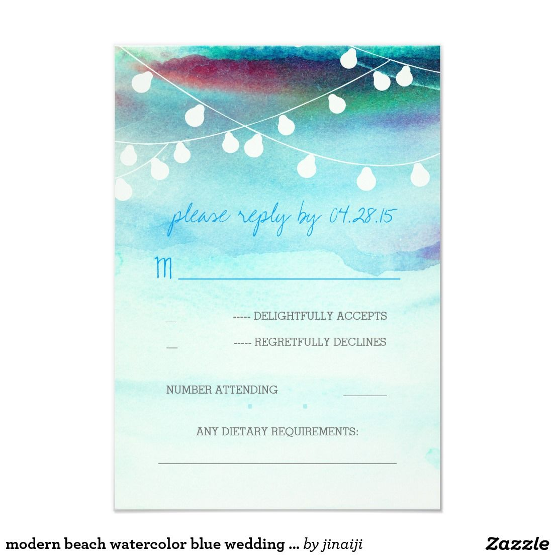 modern beach watercolor blue wedding RSVP cards | Watercolor ...