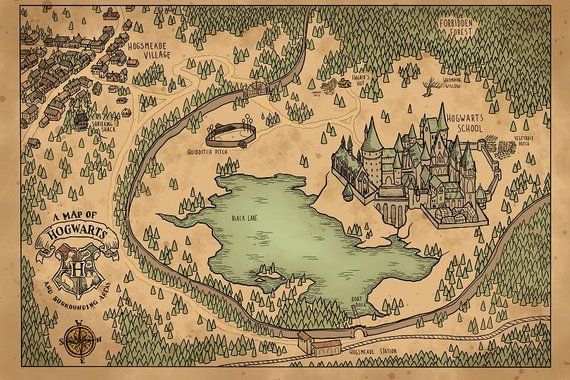 A Map of Hogwarts and Surrounding Areas in 2020 | Hogwarts ...