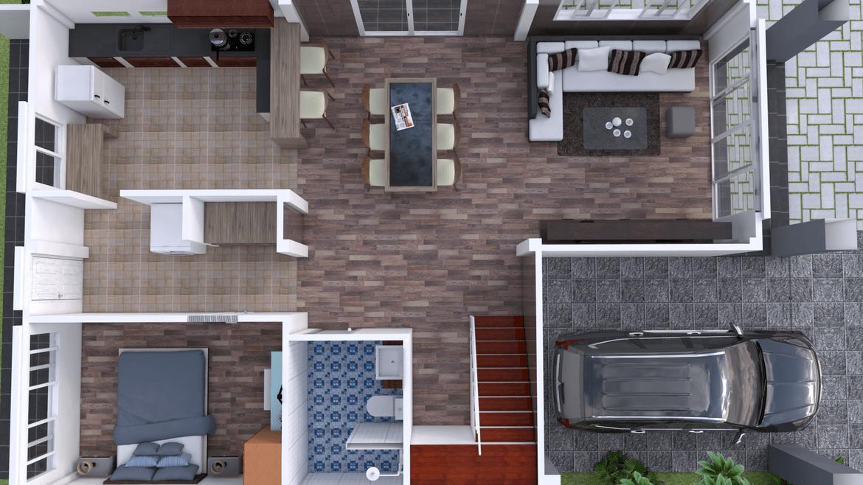 Plan 3d Interior Design Home Plan 8x13m Full Plan 3beds 3d