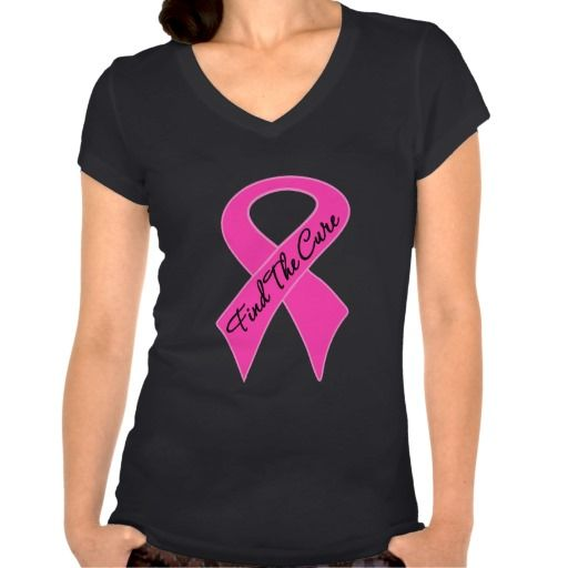 Breast Cancer Find The Cure Shirts with bold pink ribbon #breastcancerawareness