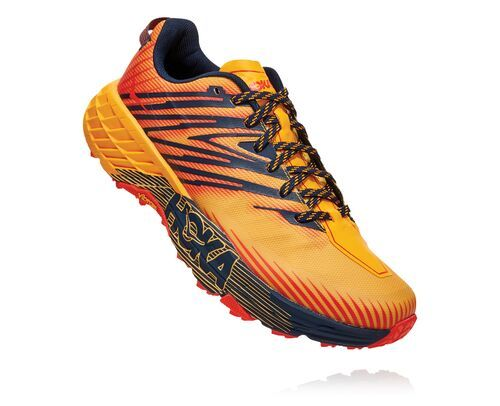 Photo of HOKA Men's Speedgoat 4 Trail Running Shoes in Gold Fusion/Black Iris, Size 11.5