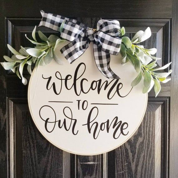 Welcome to Our Home Hoop Wreath, Farmhouse, Wall Decor, Country, Cottage, embroidery hoop, 18, 12, 14