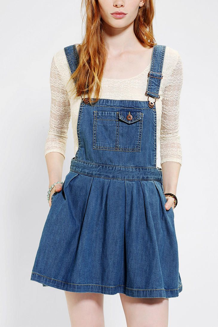 Urban Outfitters- Coincidence & Chance Pleated Denim Overall Skirt ...