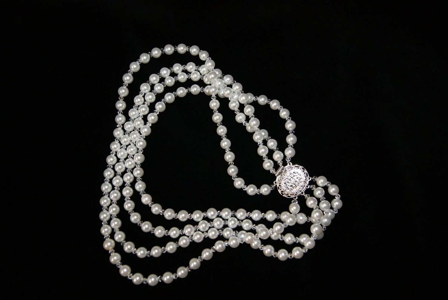 Vintage style four strand handmade bridal pearl and crystals necklace