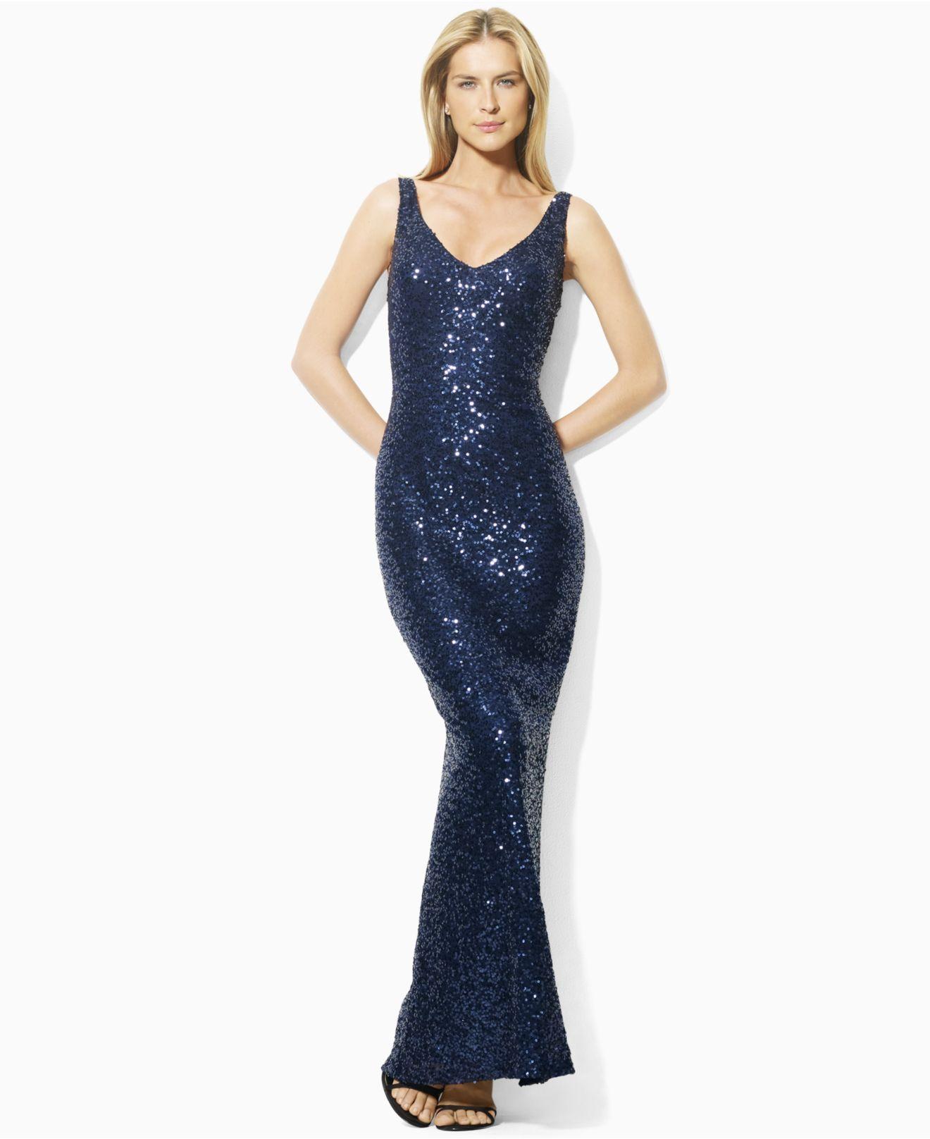Lauren by Ralph Lauren Dress, Sleeveless Sequin Evening Gown ...