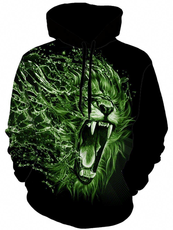 95465ab1b13 Drawstring 3D Lion Animal Print Hoodie - COLORMIX M  online3dprinting