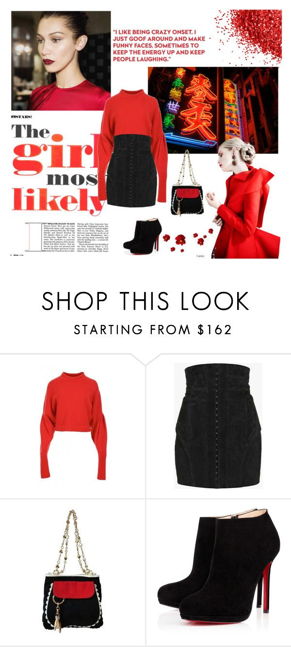 """Br(ed)very"" by unborn ❤ liked on Polyvore featuring TIBI, Balmain, Moschino Cheap & Chic and Christian Louboutin"