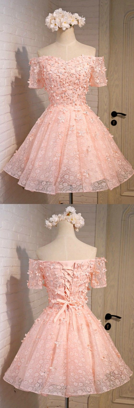 A Line Lace Homecoming Dresses Off Shoulder Short Tulle With Flowers ...
