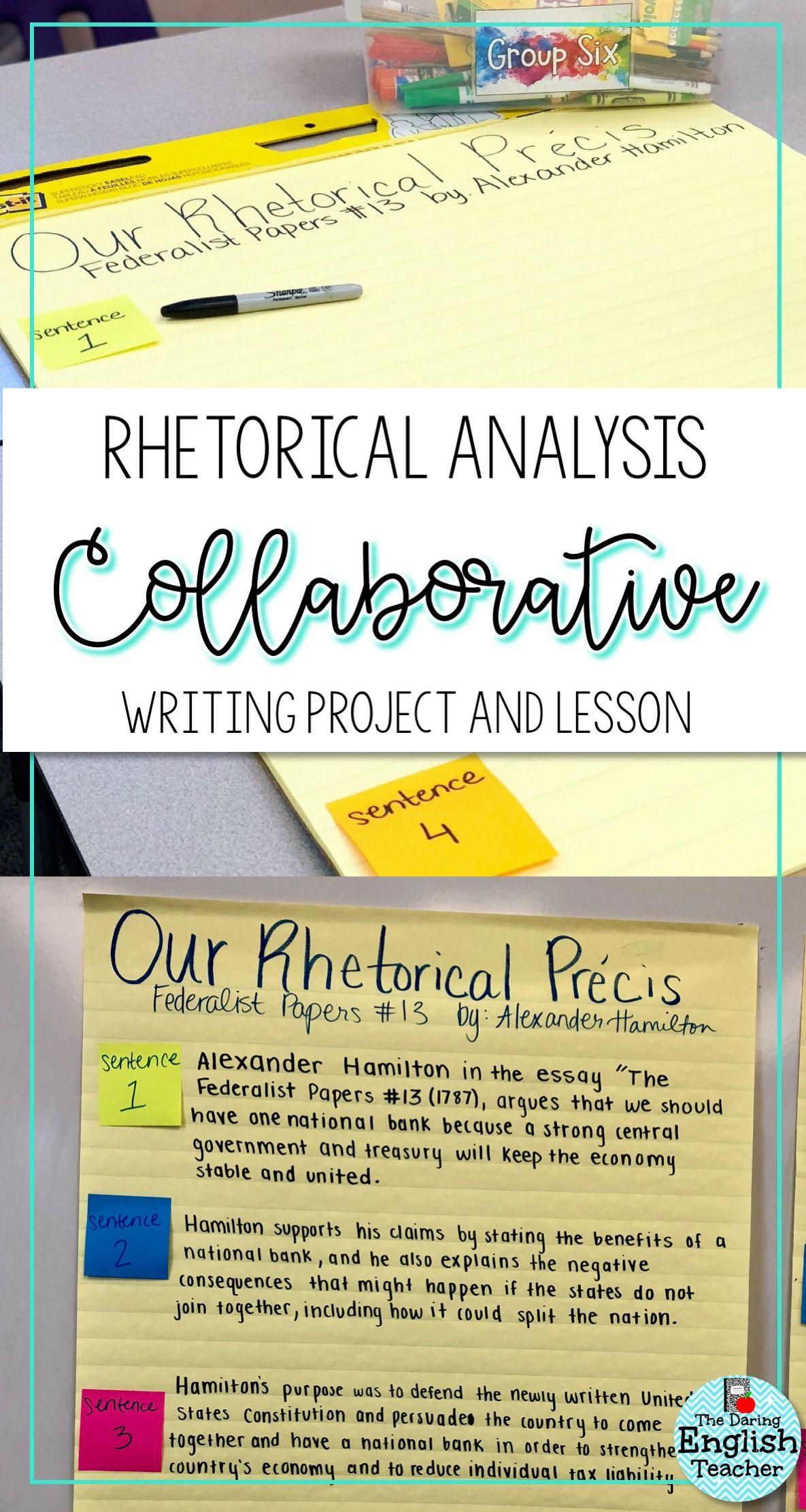 Writing A Class Collaborative Precis Rhetorical Analysis Teaching High Schools Teaching High School English [ 2222 x 1185 Pixel ]