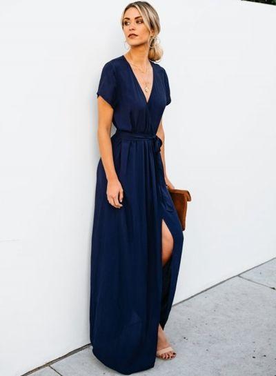 ac311b1cce2 Elegant Solid Short Sleeve V Neck Waist Tie High Slit Maxi Dress -  STYLESIMO.com