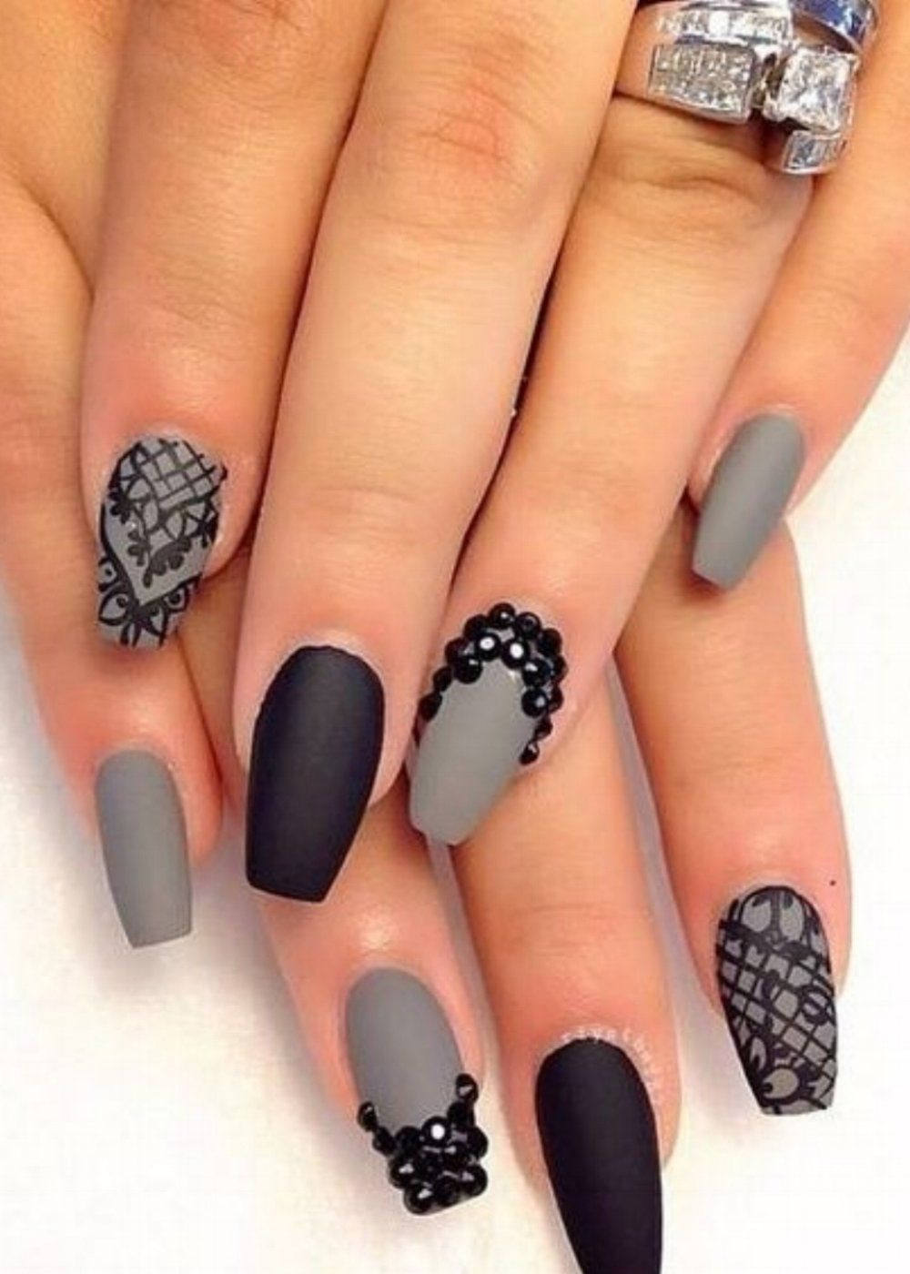 Matte Black Grey Nails Nailart Nail Art Rhinestones Nails Matte Nails Design