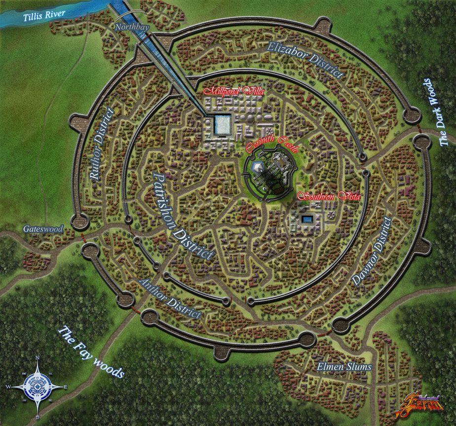 Fantasykarta Thinglink Fantasy Map Fantasy City Map Fantasy