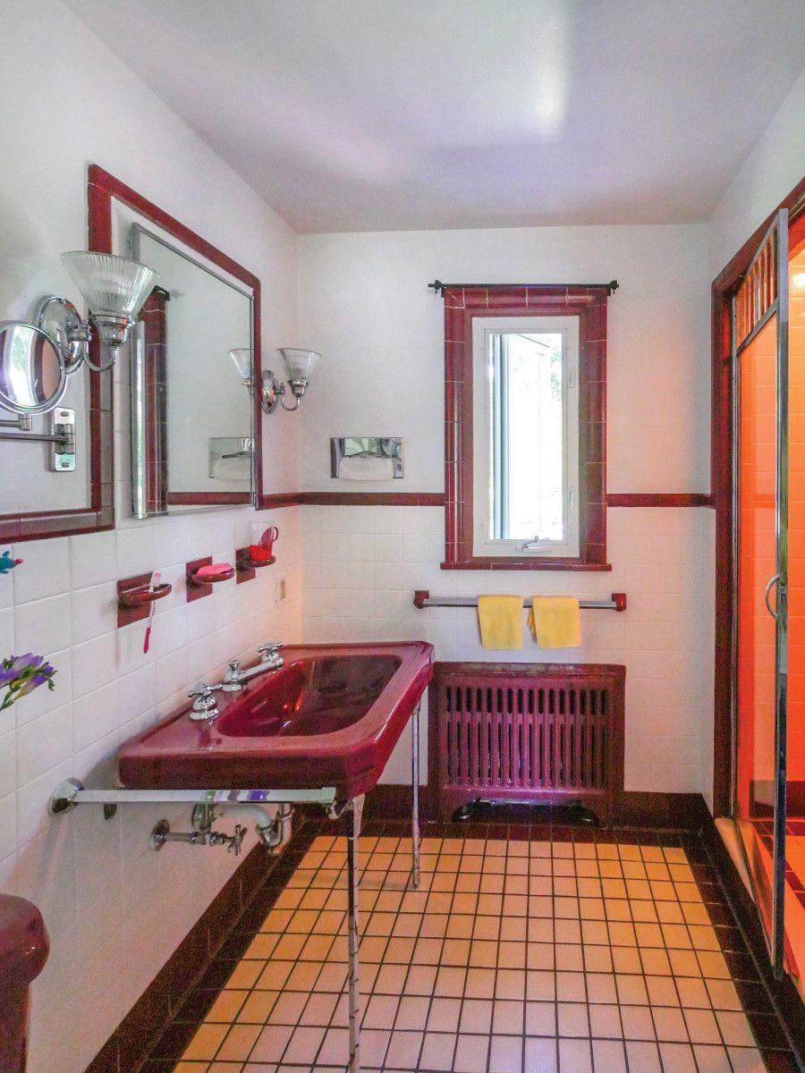 1920s40s baths burgundy bathroom vintage bathrooms