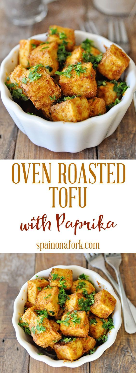 Oven Roasted Tofu with Spanish Paprika and Parsley #spanishmeals