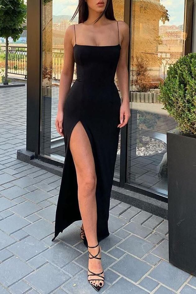Sexy Black Spaghetti Straps Slit Prom Evening Dress