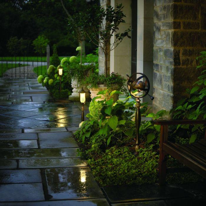 gartendeko ideen gartenwege beleuchten gartenleuchten gartenideen dise os jardines pinterest. Black Bedroom Furniture Sets. Home Design Ideas
