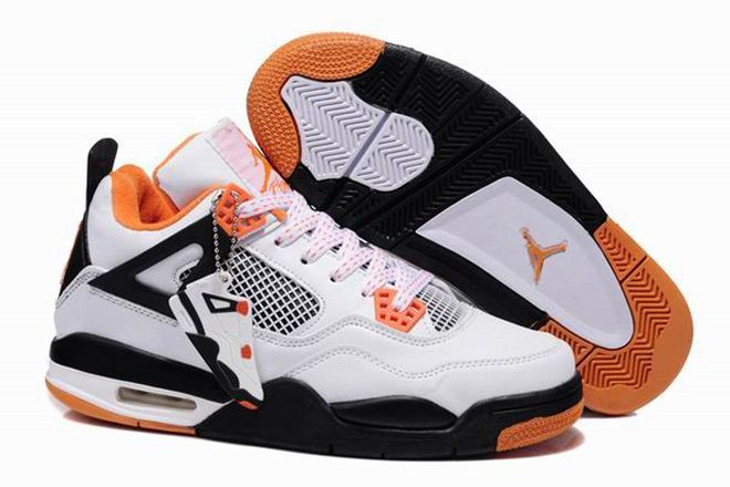 cheap for discount 4f7ef f38a9 Nike Air Jordan 4 Custom White Black Orange Mens Shoes