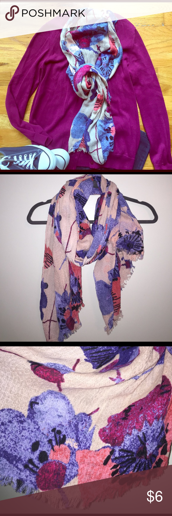 Lightweight Loft Scarf Lightweight Loft scarf. Easy to wear for spring and summer and features beautiful blush pink, fuschia, navy, light blue and coral! LOFT Accessories Scarves & Wraps