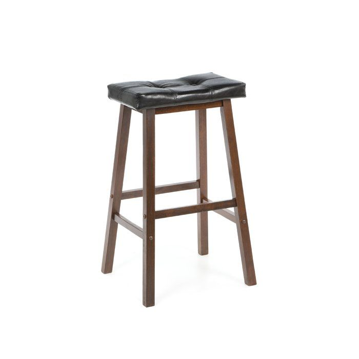 Enhance Your Home Bar Or Kitchen Island Ensemble With This Timeless Barstool Showcasing A Saddle Seat Design And Tufted Faux Leather Uph 24 Counter Stools Wood Bar Stools Saddle Seat Bar Stool