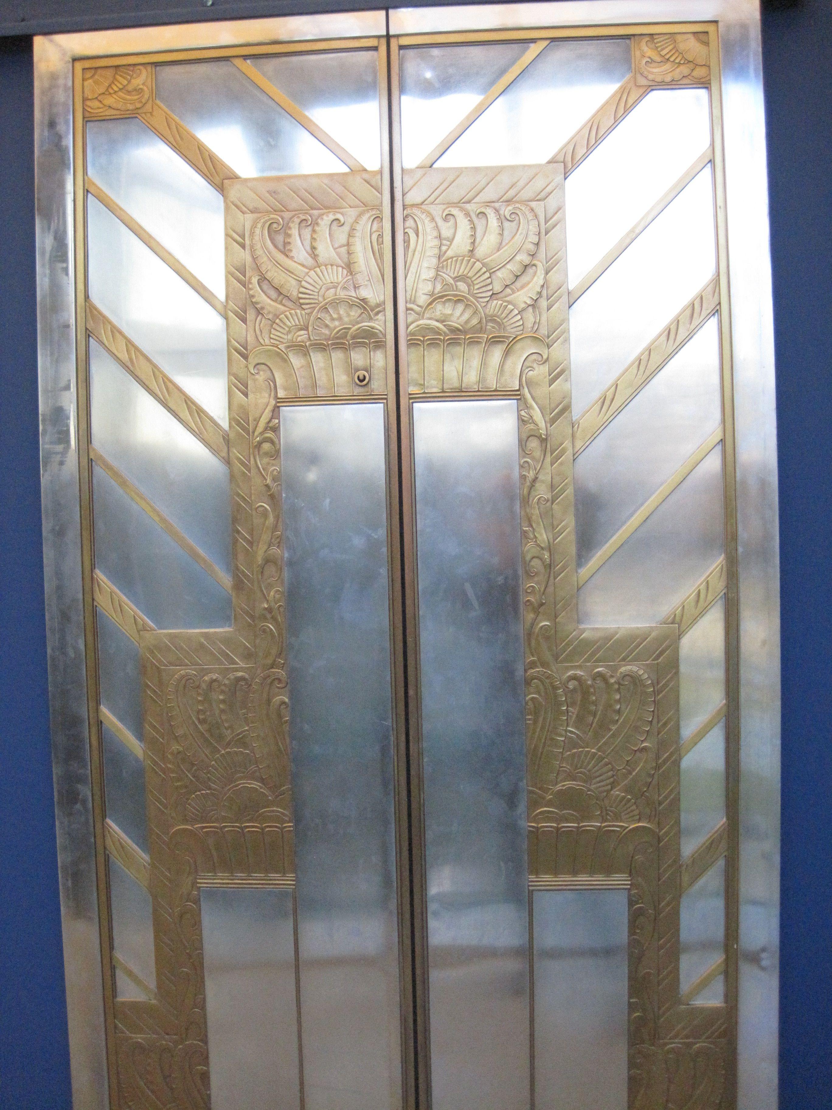 Art deco elevator door panels at delaware art museum art deco