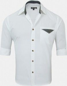 Regular Fit Solid White Shirt With Chambray Overlap Pocket - Full Sleeves