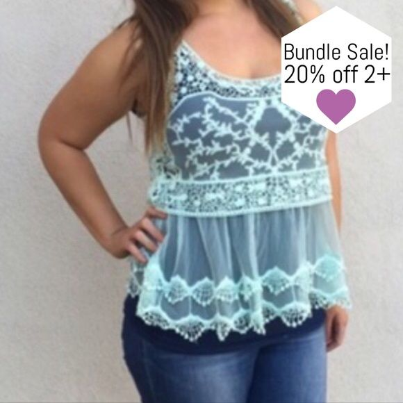 Beautiful Sheer Mint Lace Top So amazing! Adorable baby doll silhouette, and such a pretty light color. Dress this beauty up or down! 70% Cotton, 30% Nylon  [BUNDLE] for 15% off!  ❌No trades, PayPal, Holds 📷Instagram: @lovelionessie Tops Tank Tops