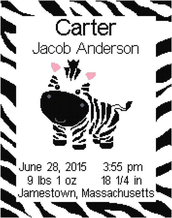 Zebra/Jungle Birth Record/ Announcement Wall Art by