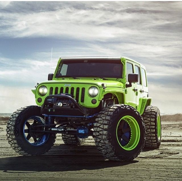 Lime Green Jeep Jk Modified With Nitto Mud Grapler Tires Green