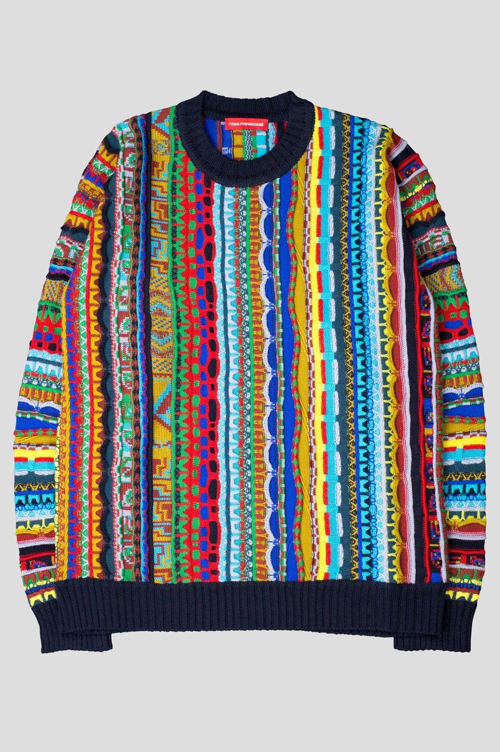 Gosha rubchinskiy wool acrylic sweater black multi | Gosha ...