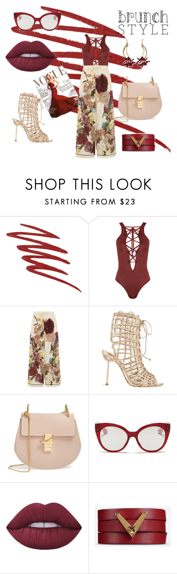 """""""Brunch"""" by sweetphashion ❤ liked on Polyvore featuring NARS Cosmetics, WearAll, Valentino, Sophia Webster, Chloé, Miu Miu, Lime Crime, Oscar de la Renta, sunday and brunch"""