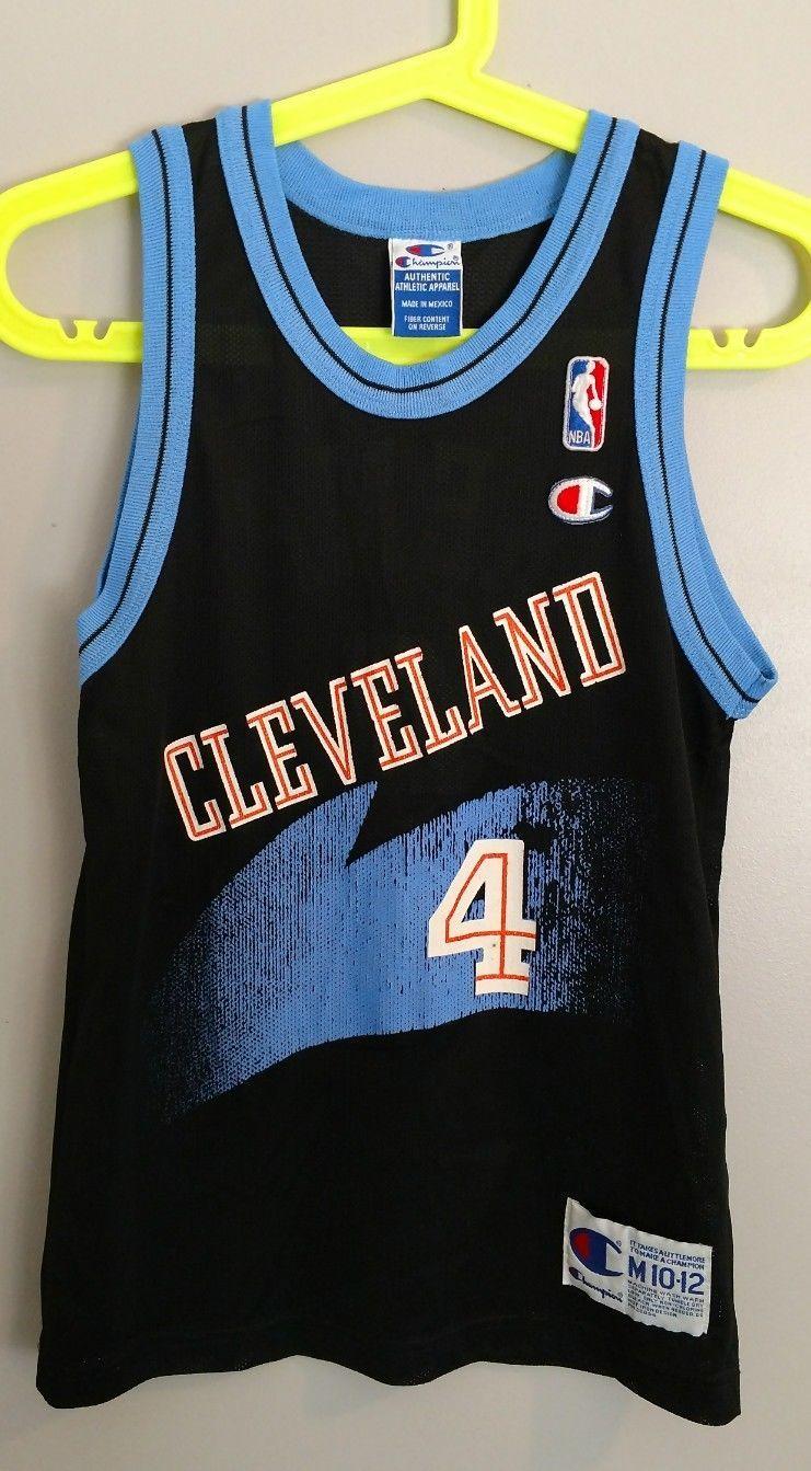 f6bdb47e3e4 Size  Youth Medium 10-12 Gender  uni Item  Vintage Champion Cleveland Cavs  Shawn Kemp jersey Color  black with blue white orange trim Condition   vintage