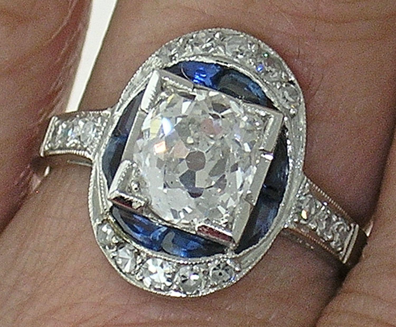 Platinum Art Deco 1.51ct Old European Cut (F color SI1 clarity) EGL Diamond Ring. $14,500.00, via Etsy.