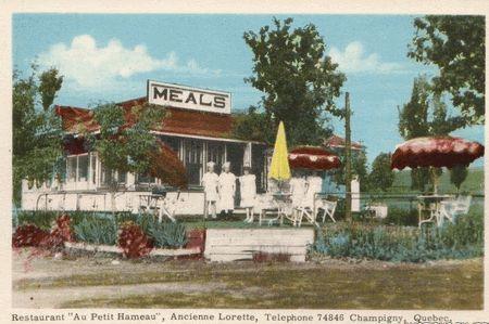 """L'Ancienne Lorette, Québec, Québec, Canada - Restaurant """"Au Petit Hameau"""", Ancienne Loreette, Telephone 7486 Champigny, Quebec"""