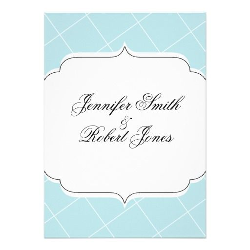 Aqua Blue Diamond Scallop Wedding Invitation Diamond Themed