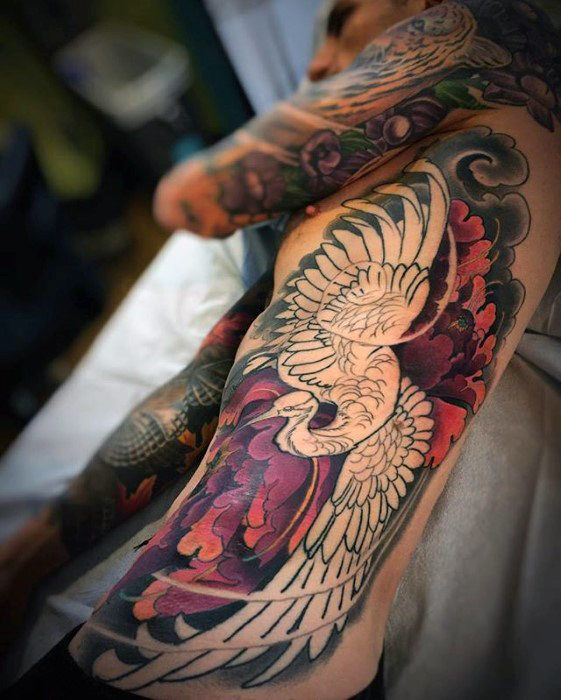 Amazing Mens Full Rib Cage Side Japanese Crane Tattoo